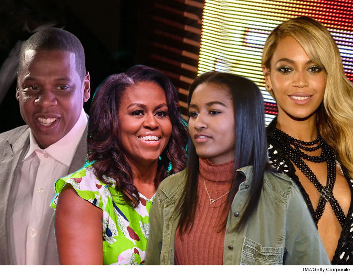 michelle and sasha obama attend beyonce and jay z concert in paris