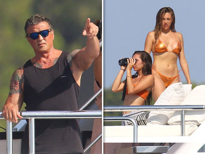 Sylvester Stallone Vacations with Wife and Daughters on Yacht in France