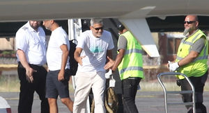 George Clooney Limps His Way Off Private Jet Days After Scooter Crash