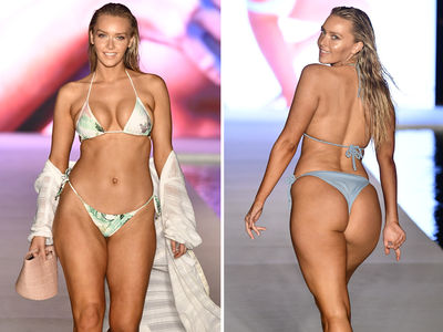 Rob Gronkowski's GF Camille Kostek Rocks Tiny Bikini In SI Fashion Show