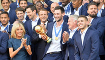 France Soccer Team Parties In Paris With President, Hold Our Trophy!!