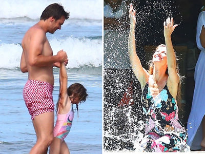 Tom Brady Plays Shirtless Beach Games with Kids While Gisele Works
