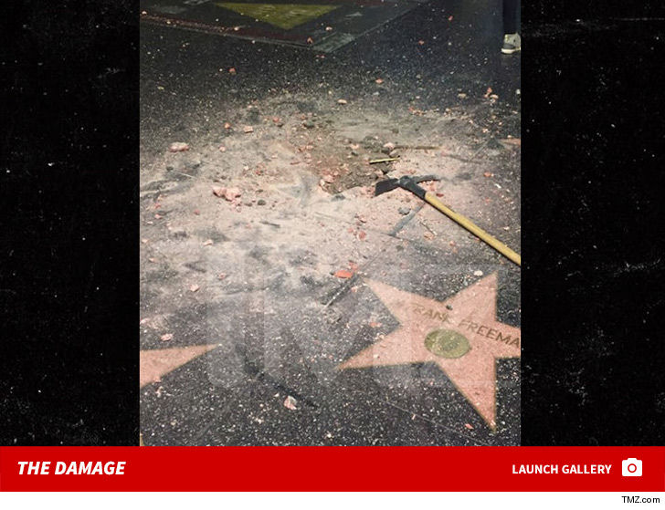 First Video of New Donald Trump Star Vandal Swinging Pickax on Walk of Fame