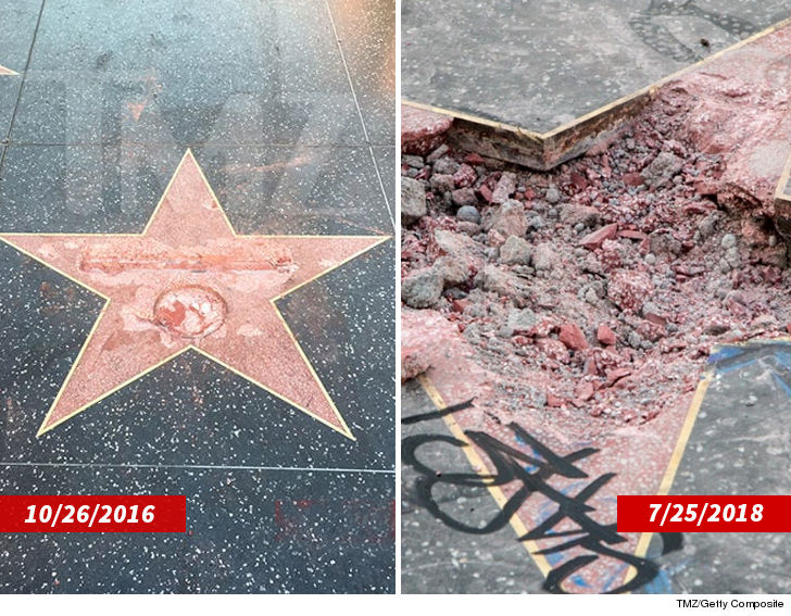 Damage to Donald Trump walk of Fame Star