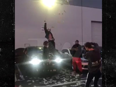 Lil Pump Makes it Rain Outside of Strip Club in Photo Shoot