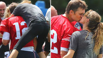 Tom Brady Smothered By Gisele at Patriots Practice