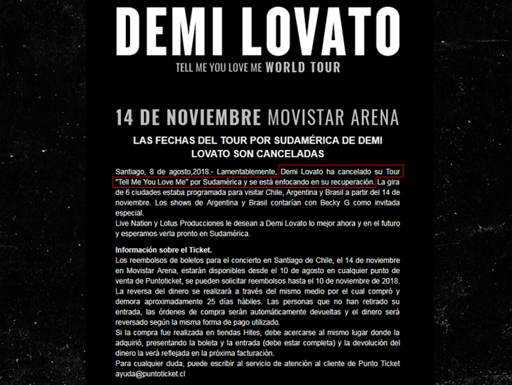 Demi Lovato Cancels Remainder Of Fall Tour