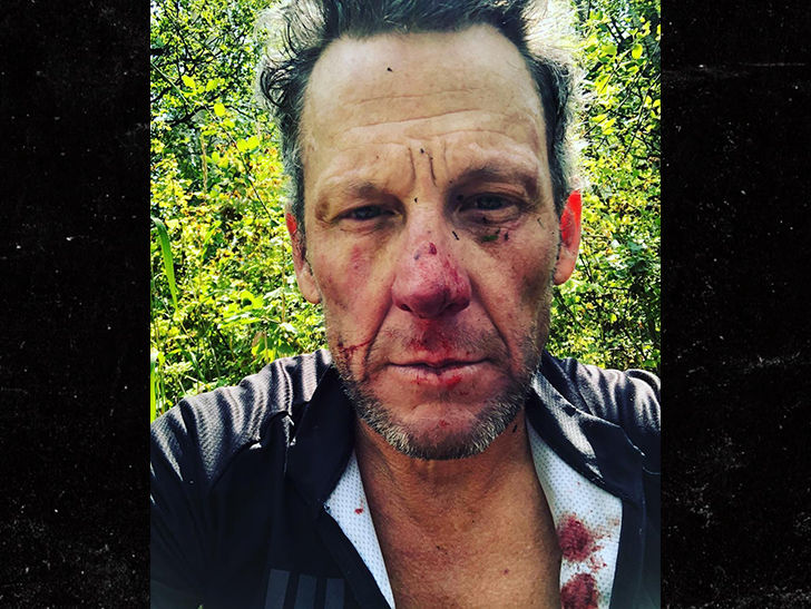 Lance Armstrong wrecked his bike and crashed so badly he was hospitalized.