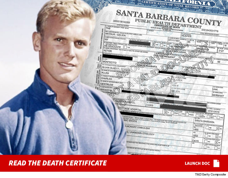 Actor Tab Hunter's Death Certificate Shows He Died From Heart Failure
