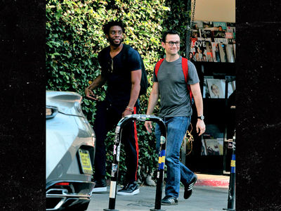 Chadwick Boseman & Joseph Gordon-Levitt Grab Superhero Lunch in L.A.
