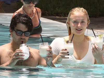 Joe Jonas and Sophie Turner Like Pina Coladas and PDA in the Pool