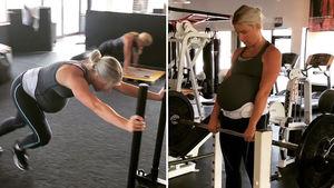 Matt Stafford's Wife Crushin' Weights at 38 Weeks Pregnant!