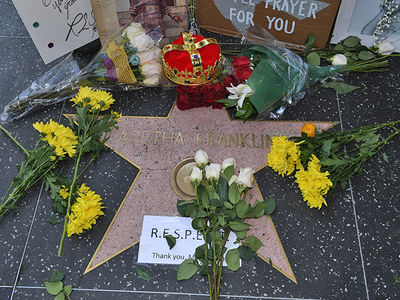 Aretha Franklin's Hollywood Walk of Fame Star Draws Huge Crowds