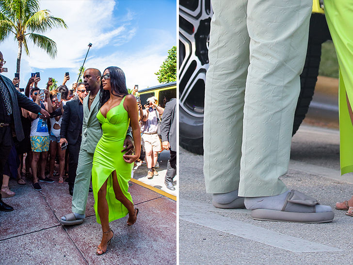 Kanye West shows up with Kim Kardashian at 2 Chainz' wedding and his slides are way too small.