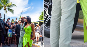 Kanye West Wears Yeezy Slides that are Way Too Small at 2 Chainz' Wedding