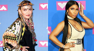 Madonna Kisses Nicki Minaj Backstage at VMAs -- and the Rapper Is All About It