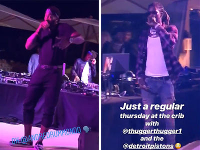 Young Thug and Andre Drummond Perform at Detroit Pistons Malibu Mansion Party