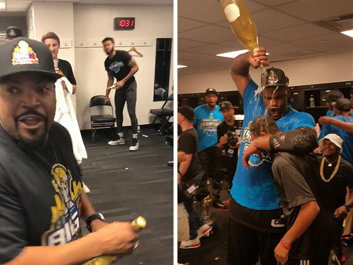 Ice Cube Sprays Champagne, Turns Up After BIG3 Championship