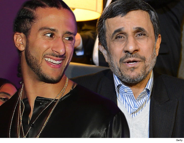 The former president of Iran Mahmoud Ahmadinejad is backing another embattled U.S. athlete... this time coming to the defense of Colin Kaepernick
