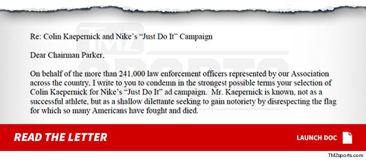 b530036eced5 One of the largest police organizations in the nation is blasting Nike for  the new Colin Kaepernick ad campaign ... saying Swoosh s definition of  sacrifice ...