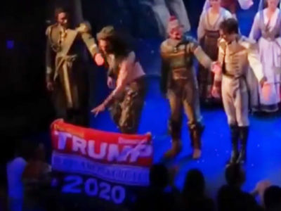 'Frozen' Actor Timothy Hughes Snatches Trump 2020 Banner During Curtain Call