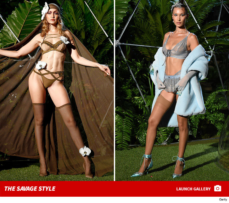 ec7cb9b12c1 Gigi   Bella Hadid Model Rihanna s Savage X Fenty Lingerie at NYFW ...