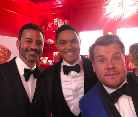 Jimmy Kimmel, Trevor Noah and James Corden