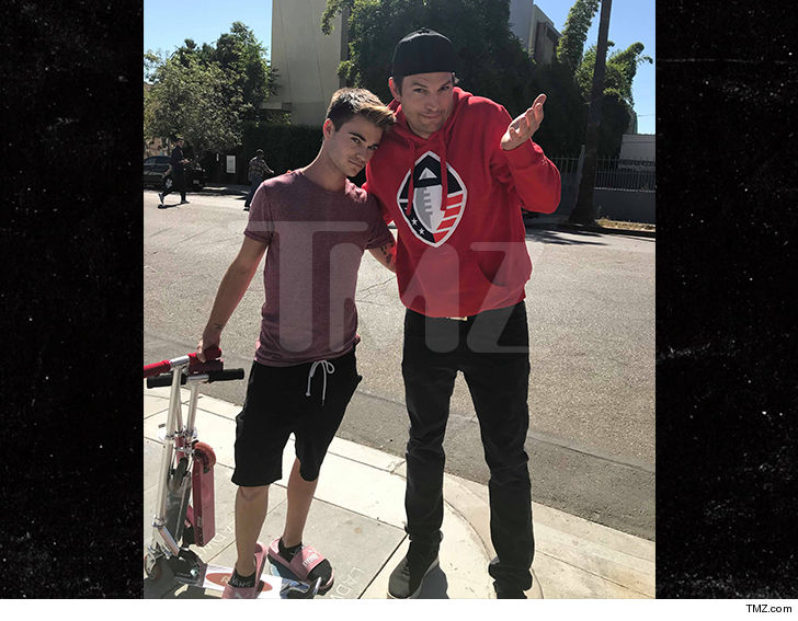 Ashton Kutcher 'runs over' a teen on his scooter