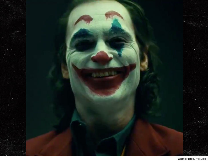 Joaquin Phoenix in his Joker makeup is plenty creepy