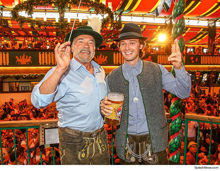 Arnold Schwarzenegger celebrates Patrick's 25th birthday at Oktoberfest.