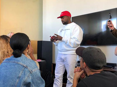 Kanye West Rocks MAGA Hat with Kaepernick Shirt