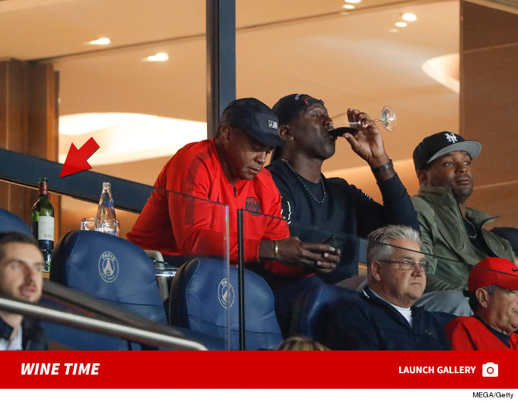 0927 michael jordan wine time gallery mega getty 11 - Michael Jordan Crushin' Fancy Wine at PSG Soccer Game