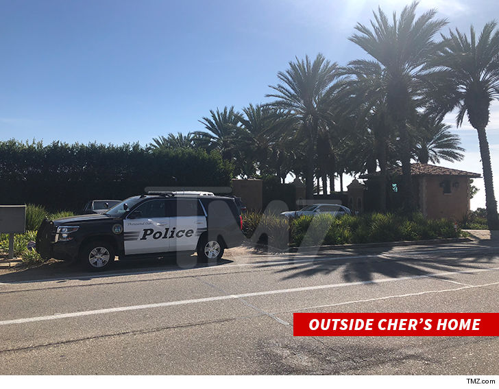 0927 outside chers home tmz 3 - Cher's Malibu Home Swarmed by Cops, Son of Assistant Arrested
