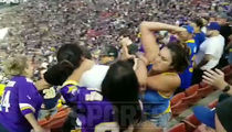 Rams vs. Vikings Fan Brawl, Man Flung Over Bleachers!