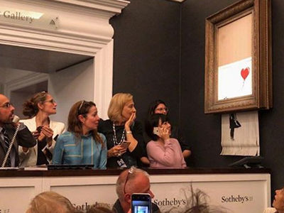 Banksy Painting Goes for $1.4 Million and then Gets Shredded in Frame