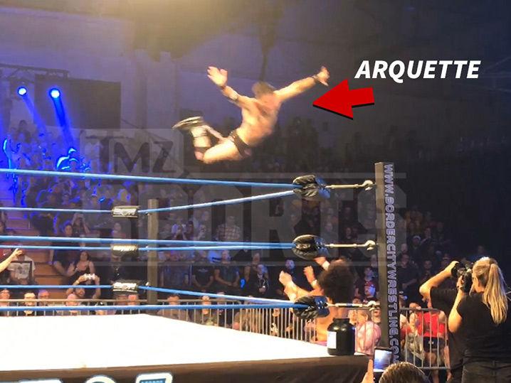 David Arquette Busts Flying Frog Splash at Canadian Wrestling Match