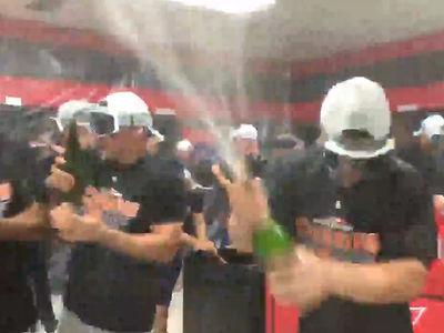Houston Astros Go Champagne Crazy After Sweeping Indians in ALDS