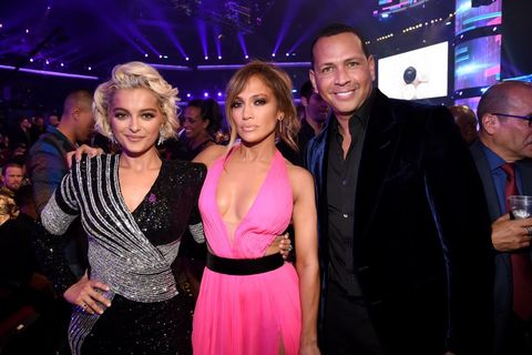Bebe Rexha, Jennifer Lopez and Alex Rodriguez