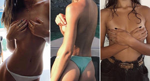 Topless Babes for No Bra Day -- Guess Who!