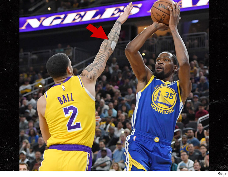 39465451d Lonzo Ball s famous Big Baller Brand arm tattoo was covered up during his  pre-season debut with the Lakers on Wednesday night ... and it s all  because the ...