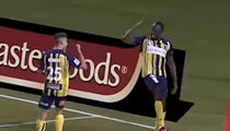 Usain Bolt Celebrates Pro Soccer Goal with 'Shoot' Dance