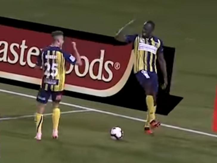 31e1ed8fb7b61d Usain Bolt Celebrates Pro Soccer Goal with  Shoot  Dance