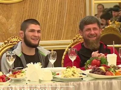 Khabib Breaks Bread with Anti-Gay Chechen Dictator at Russian MMA Club