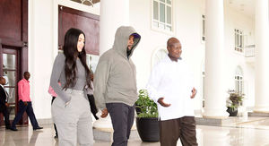 Kim Kardashian and Kanye West Meet President of Uganda