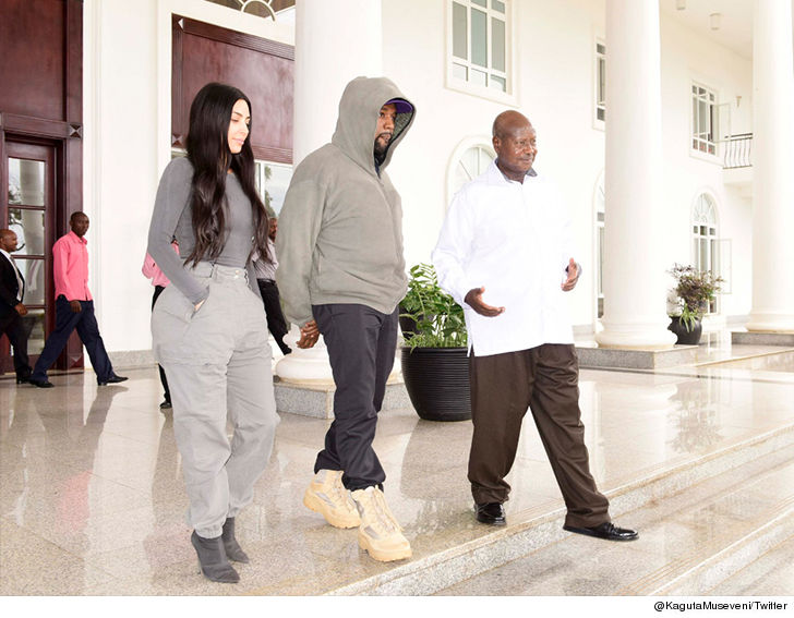 Kim and Kanye meet the President of Uganda on trip to Africa.