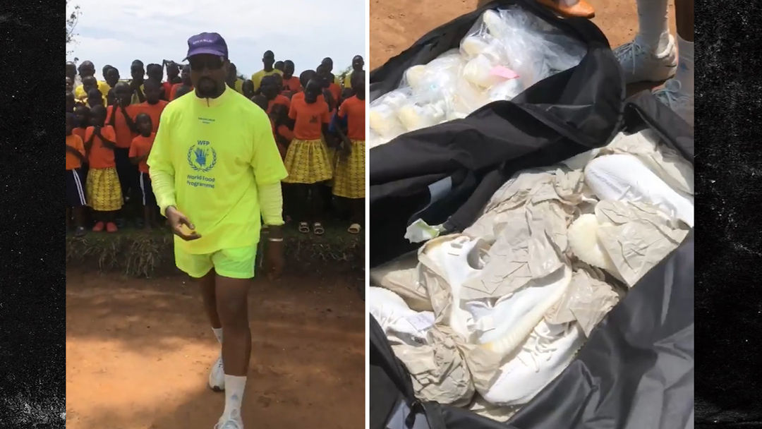e1ce253c4 Kanye West Hands Out Dozens of Yeezys in Uganda