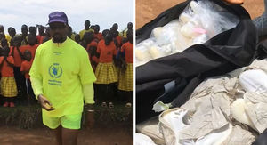 Kanye West Hands Out Dozens of Yeezys in Uganda