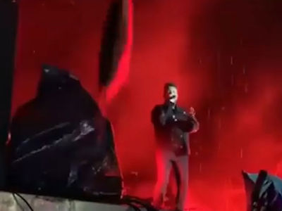 The Weeknd Narrowly Avoids Being Hit by Falling Object from Stage