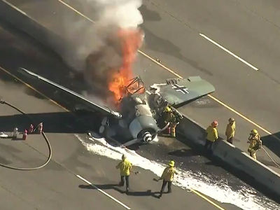 WWII Nazi Plane Crashes in Flames on Highway 101 in the Valley