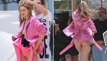 Gigi Hadid Goes Braless in Super Revealing Hot Pink Blazer